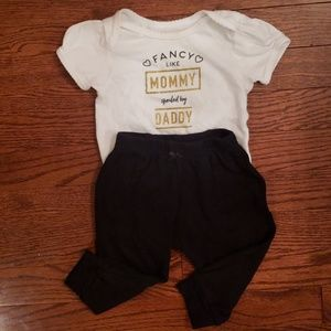 """Fancy Like Mommy, Spoiled By Daddy"" 6-9M Outfit"